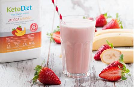 Keto dieta – Proteinový nápoj příchuť jahoda a banán – KetoDiet.cz